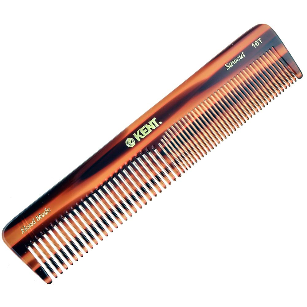"""Kent 16T Hand Made Coarse/Fine Toothed Dressing, Grooming, and Styling Comb for Men/Women, 7""""/185mm, 1 Ounce"""