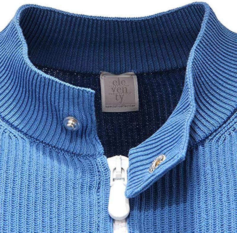 ELEVENTY 5393AD Cardigan Uomo Azure Cotton Fullzip Sweater Man [XS]: Odzież