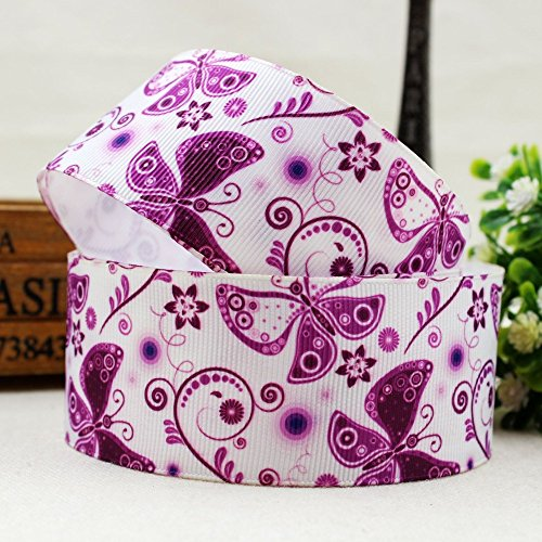 FunnyCraft 10 Yards 10 Yards Width 38Mm Purple Butterfly Series Printed Grosgrain Ribbon Diy Handmade Hair Accessories Material