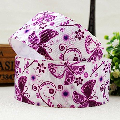 FunnyCraft 10 Yards 10 Yards Width 38Mm Purple Butterfly Series Printed Grosgrain Ribbon Diy Handmade Hair Accessories Material