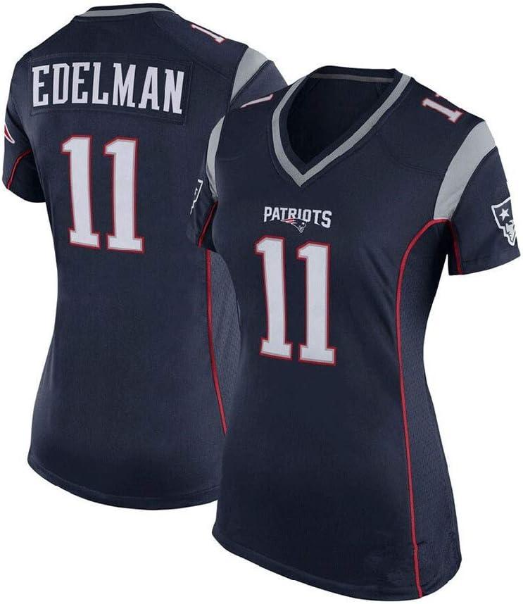 Mujeres Camiseta de Deporte Deportes Camiseta Informal Julian Edelman # 11 New England Patriots Ropa de Deporte del f/útbol Americano
