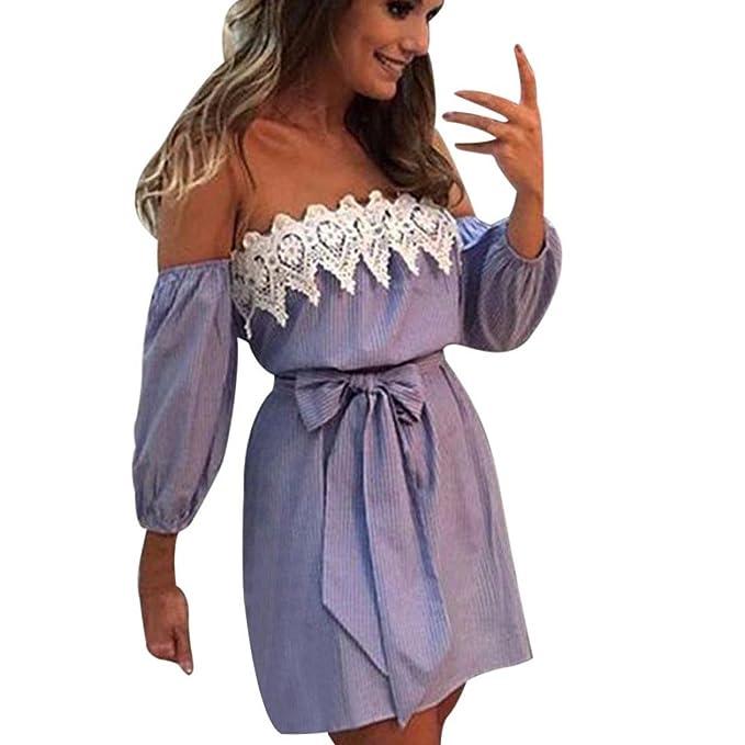 ❤ Mode Streifen Damen Sommerkleider Mumuj Frauen Schulterfrei ...