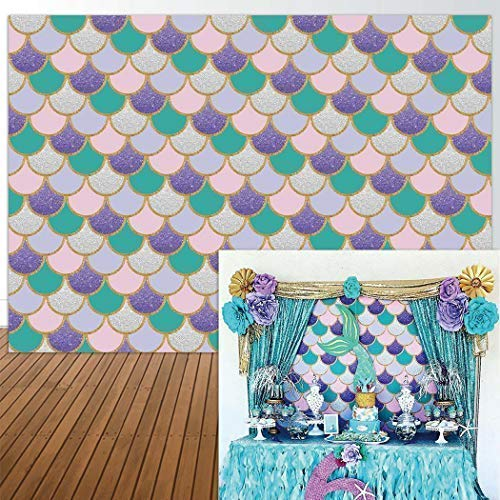 Allenjoy 7x5ft photography backdrop party princess Purple pink Mermaid Scales Glare Glitter Birthday party banner photo studio booth background newborn baby shower photocall