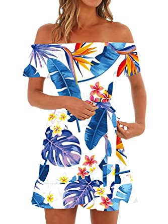 9baeb18e8a1 Gemijack Womens Hawaiian Dresses Off The Shoulder Floral Short Sleeve  Strapless Summer Beach Dress Blue