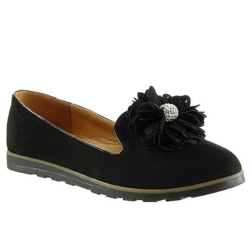 Angkorly - Zapatillas de Moda Mocasines Slip-on Mujer Flores Joyas Talón tacón Plano 1.5 CM: Amazon.es: Zapatos y complementos