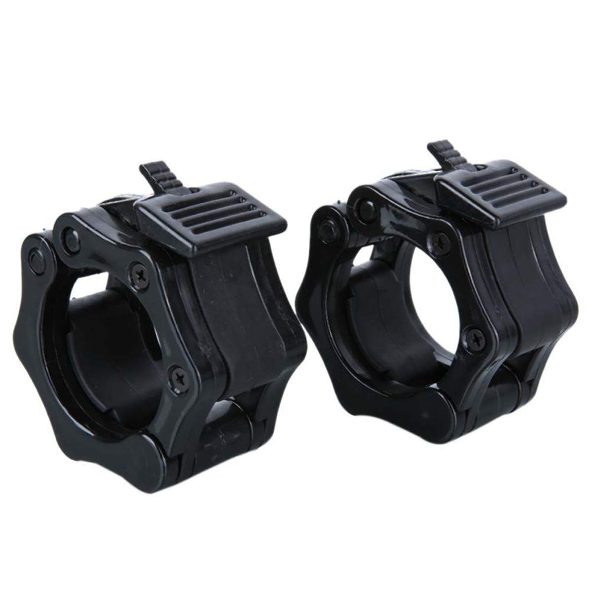 Queenbox 2pcs Barbell Clamp Collar Clips Clamp Gym Training 25mm, Black
