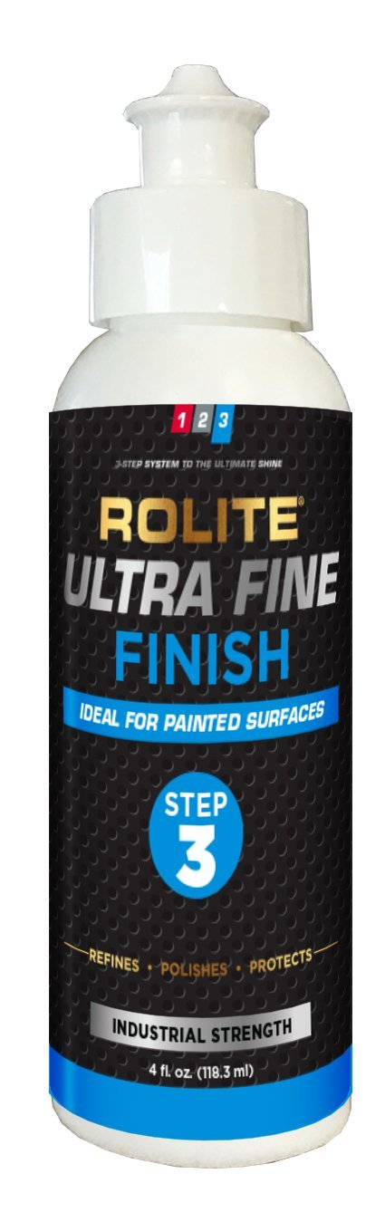 Rolite Ultra Fine Finish (4 fl. oz.) for Removing Micro-Finishing Scratch & Swirl Marks for Automotive Clear-Coat Paints, Low Sling, Deep Gloss