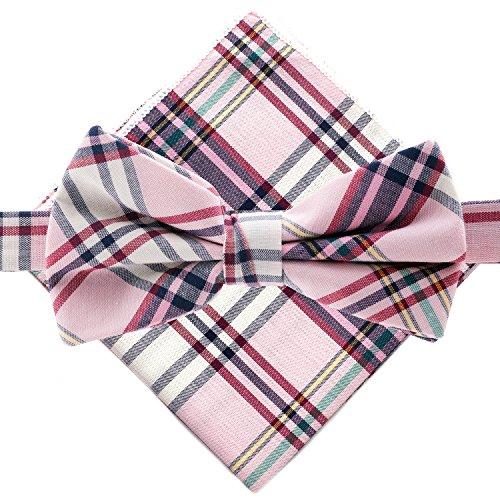 Man of Men - Bowtie & Pocket Square - Pink - Pocket Square Plaid