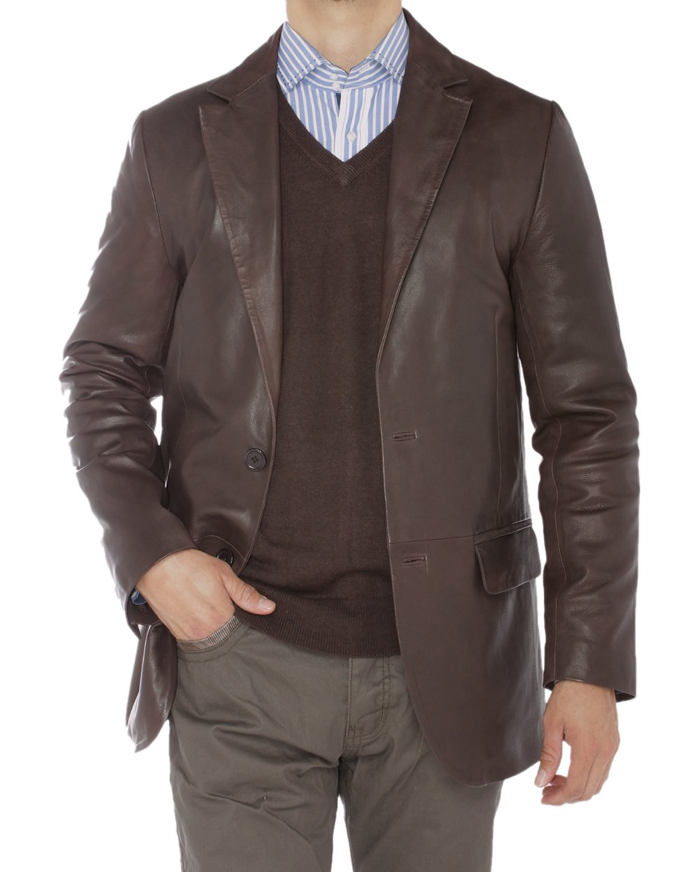 Luciano Natazzi Mens 2 Button Modern Fit Nappa Leather Blazer Center Vent Jacket (Large / US 40-42, Brown)