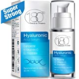 Hyaluronic Acid Vitamin C Facial Serum - Super Strong - 180 Cosmetics - Face Lift Skin Serum for Face and Eyes - Pure Hyaluronic Acid For Immediate Results - Hydrating - Anti Aging - Wrinkles