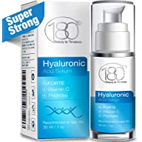 Hyaluronic Acid Vitamin C Facial Serum Strong- 180 Cosmetics - Face Lift Skin Serum for Face and Eyes - Pure Hyaluronic Acid For Immediate Results - Hydrating - Anti Aging - Wrinkles and Fine Lines
