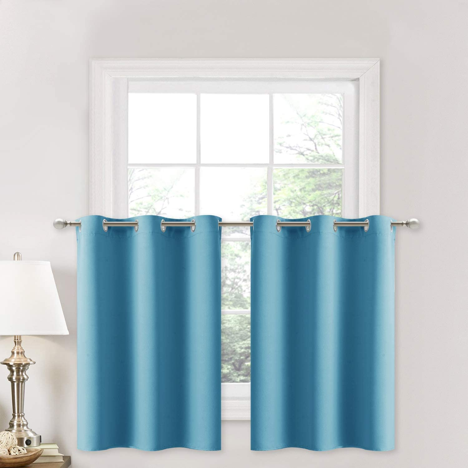 NICETOWN Thermal Insulated Window Panels - Energy Efficient Home Decor Grommet-Top Curtains for Bedroom (29 by 36 + 1.2 inches Header, Turquoise=Teal Blue, 2 Packs)
