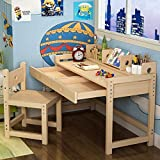 Tribesigns Unfinished Kids Study Desk and Chair Set with Hutch, Height Adjustable Solid Wood Writing Student Desk for Child, Great for Kid's Bedroom or Any Small Space