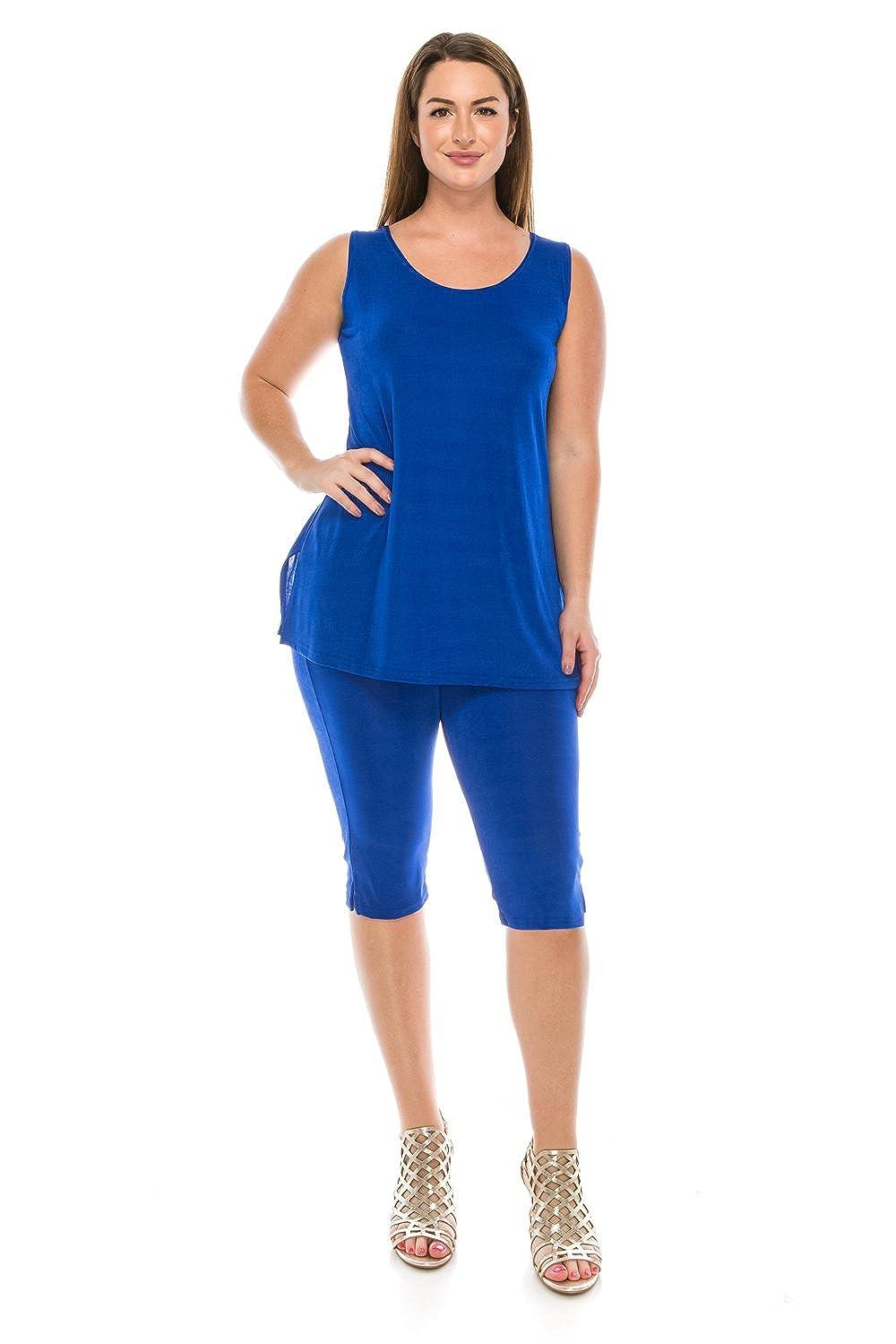 6d9c481cf52 Jostar Women s Stretchy Tank Capri Pant Set Sleeveless Plus Size - Made in  USA at Amazon Women s Clothing store