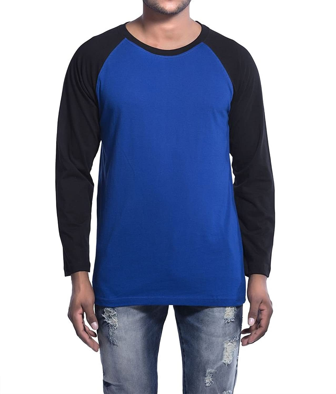 Clifton Mens Raglan Full Sleeve R-Neck T-Shirt-Sapphire Blue/Black