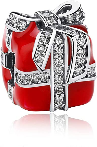 Red Enamel Charms Fit Pandora Charms Authentic Sterling Silver Charms Beads  Christmas Bracelets For Women Gift Box