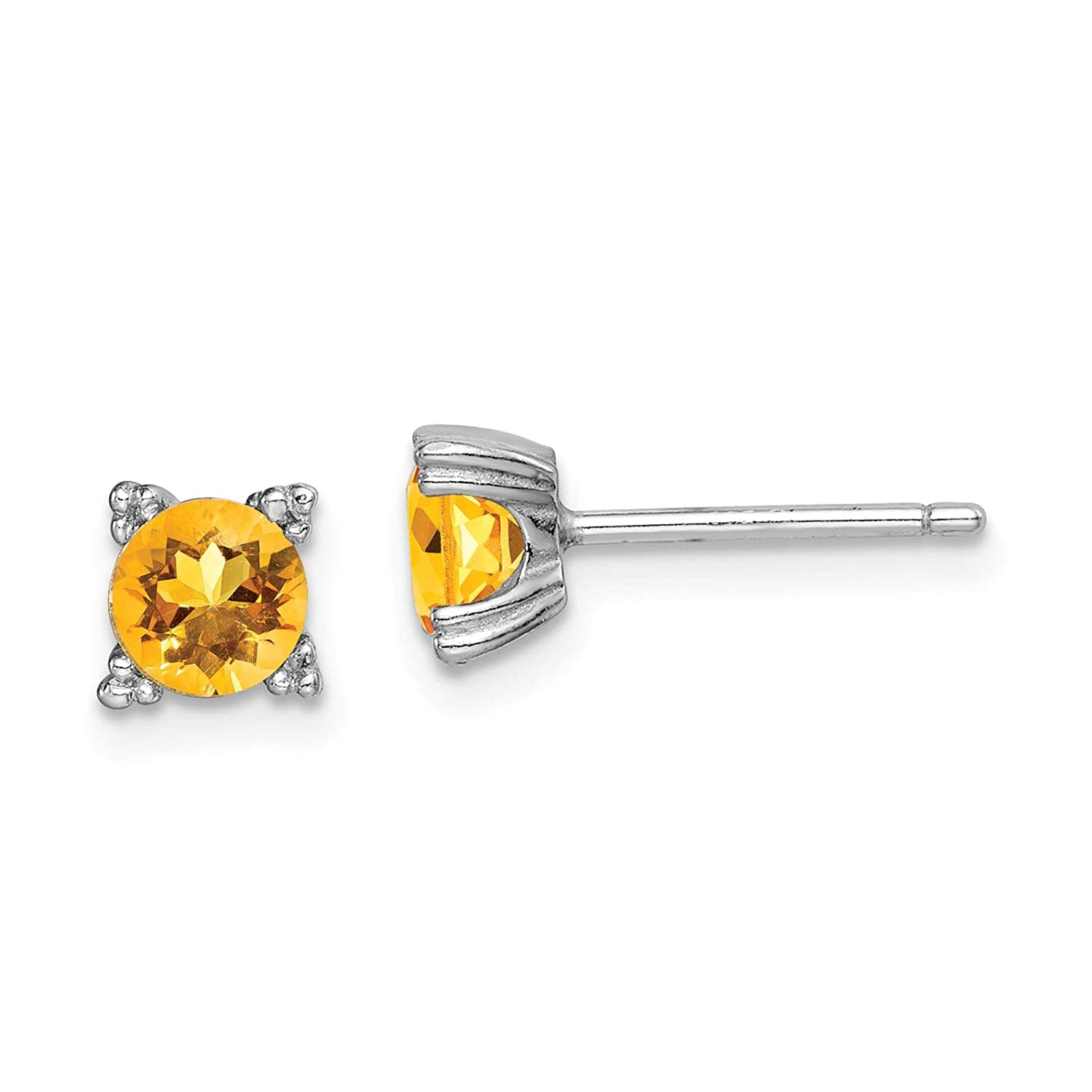 925 Sterling Silver Rhodium-plated Polished Round 5mm Citrine Stud Post Earrings