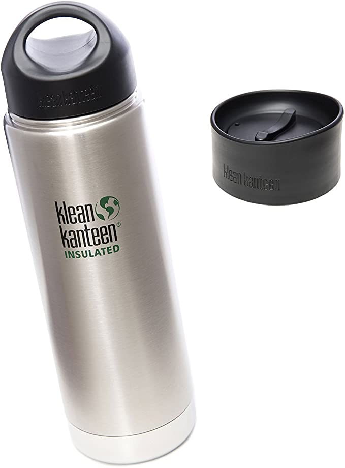 Wide Mouth Insulated Stainless Steel Bottle with Leakproof Cafe Cap 2.0-20 Ounce Vineyard Green