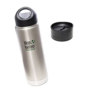Klean Kanteen Coffee Set Wide Mouth Insulated Bottle w/ 2 Caps (Stainless Loop Cap and Cafe Cap) - Brushed Stainless 20 oz.