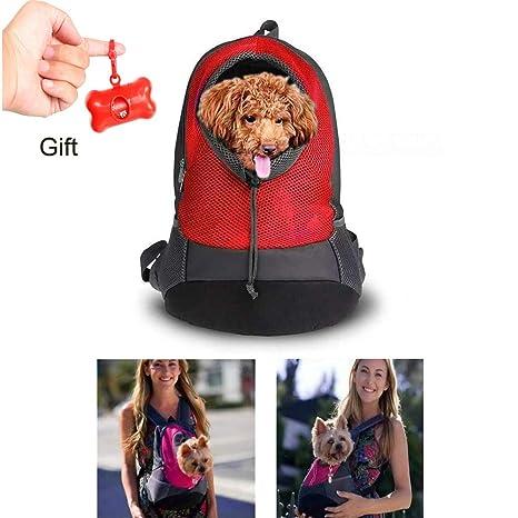 Teammao Mochila para Mascotas Transpirable Cómodo Transportadora de Perro Gato Doble Hombros Mochila para Viajes,