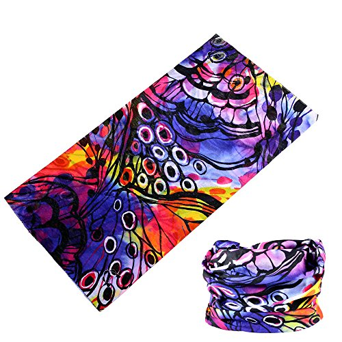Multifunctional 16-in-1 Yoga Sports Fashion Travel Colors Headband Seamless Neck Uv Buff Solid Moisture Wicking Bandana Turban Scarf (8butterfly)