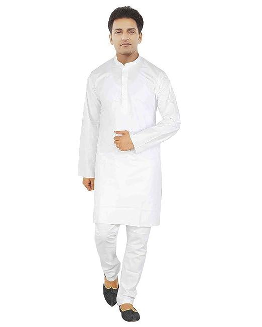 Kurta Royal Hombres de Color Blanco algodón Pijama Blanco Blanco Medium