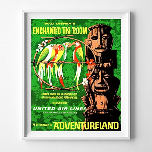 Disneyland Enchanted Tiki Room Adventureland Home Decor Print Wall Art Poster Office Decoration Living Room Gift Idea Giclee Vintage Artwork Reproduction - ...