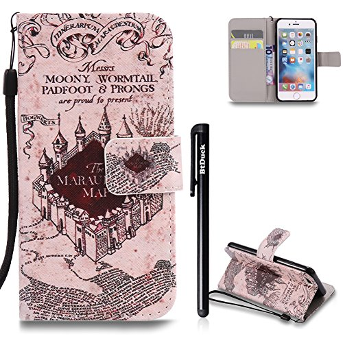 [4.7] Handyhülle iPhone 6,Handyhülle iPhone 6S,BtDuck Ultra Slim Weich Silikon Cover Innere mit Standfunktion Bookstyle Tasche Magnet Leder Schutztasche Schutzhülle für iPhone 6/iPhone 6S Handytasche iPhone 6/6S-Castle