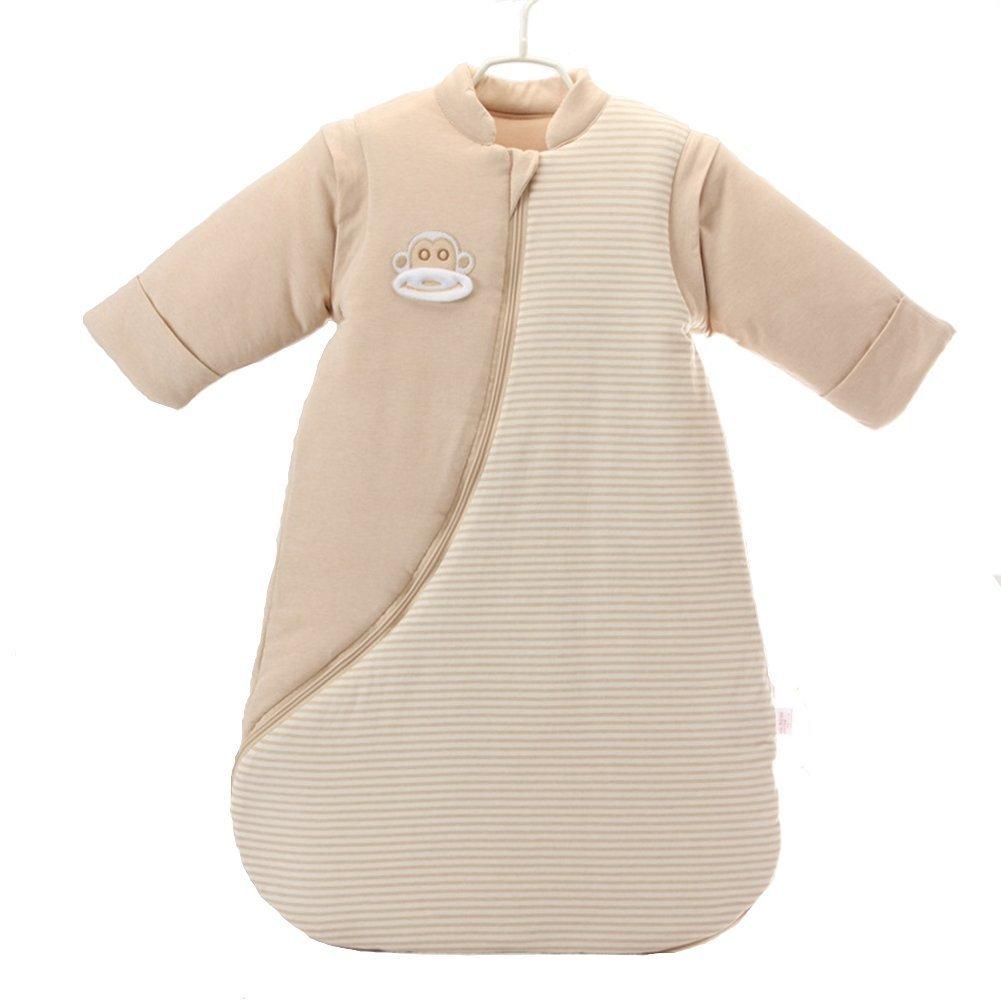 Sleeping Sack, Wearable Blanket,Sleeping Bag Soft Cotton Detachable Long Sleeve (Brown, XL) Zulaniu