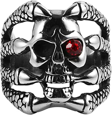 316L Stainless Steel Demon Skull Ring Vintage Gothic Men/'s Fashion Jewelry Band