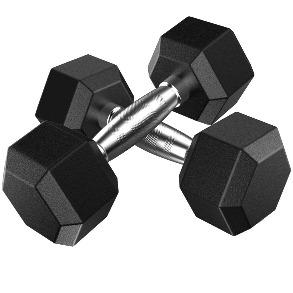 Dasuy One Pair of Rubber Encased Hex Dumbbell with Metal Handles, 5lbs, 10lbs, 20lbs, 30lbs, 50lbs Dumbbell Barbell Weights Set - Shipped from US (5lbs, Black)