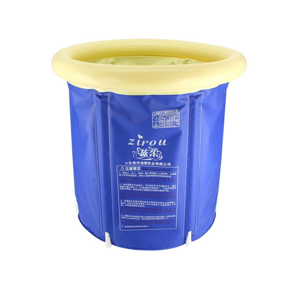 Foldable Inflatable Plastic Bathtub Household Tub Adult Infant Child Bath Tub Durable Dirt/adjustable Height/easy To Fold Dark Blue (6071cm, 6573cm, 7073cm, 7578cm) (Size : 6071cm)