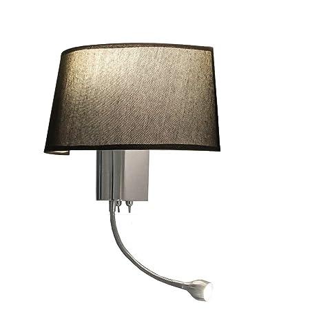 GQNLY Mesita de Noche, lámpara de Pared con Pantalla de Tela ...