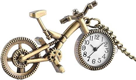DYH&PW Relojes Mini Linda Forma de Bicicleta Reloj de Bolsillo ...