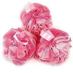 PUREAN Bath Sponge Gift Set – 3 Pink Loofah Sponges, Pouf Hook & Bath Bag – Gentle Skin and Body Care – Soft Mesh Luffa Shower Puff Ball Offers Rich Foam and Pleasant Bubble Bath