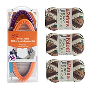 Set de calcetines de masculino y femenino con el Auto Patrón para tejer en telar rayas yarn-woodsie Patons - Lana para tejer calcetines: Amazon.es: Juguetes ...