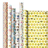Jillson Roberts All-Occasion Printed Designer Gift Wrap Assortment, Not Just for Kids, 6-Roll Count