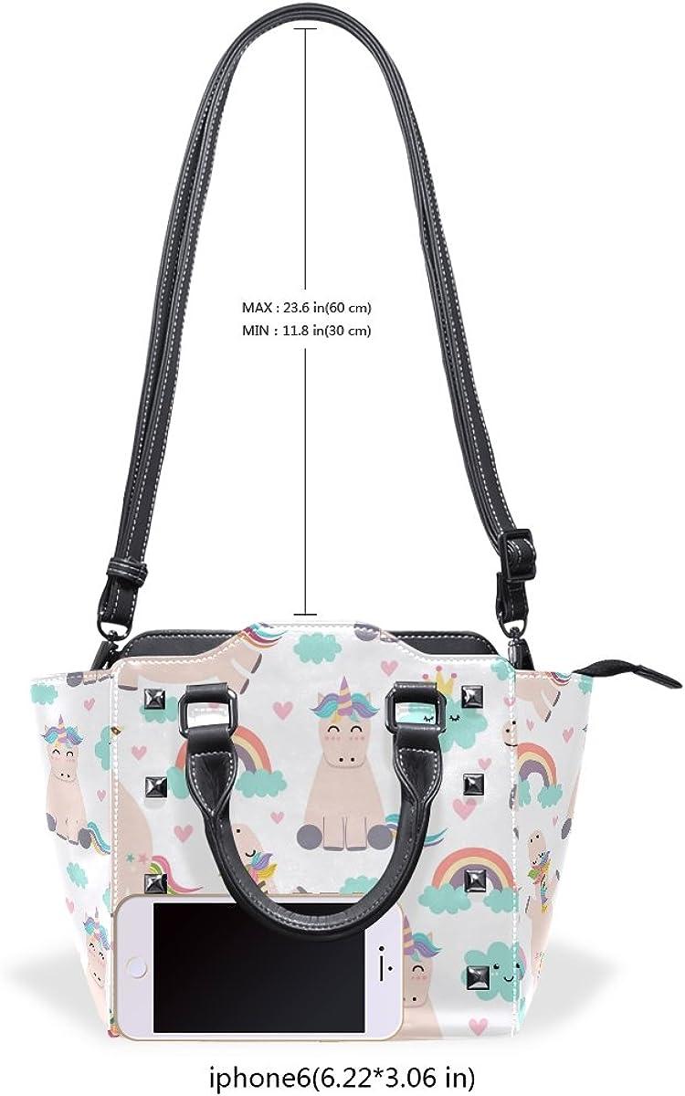 Jennifer Unicorns Rainbow Patterns PU Leather Top-Handle Handbags Single-Shoulder Tote Crossbody Bag Messenger Bags For Women