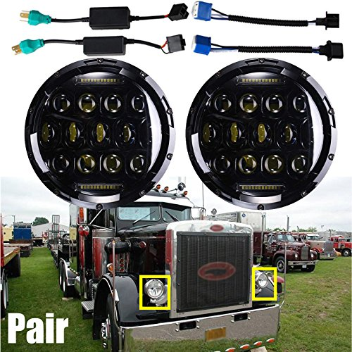 Sealed Beam Headlight Conversion Kit H5024/5024/6012/6014/6015/H6017/H6024 7 Inch Round Headlamp for Peterbilt 359 379 Super Bright Lamp High and Low DRL Dual Beam (Package of 2)