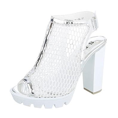Ital-Design Peep Toe Damenschuhe Peep-Toe Pump High Heels Klettverschluss Pumps