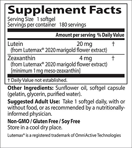 Doctor's Best Lutein featuring Lutemax, Non-GMO, Gluten Free, Soy Free, Eye Health, 20 mg, 180 Softgels by Doctor's Best (Image #1)