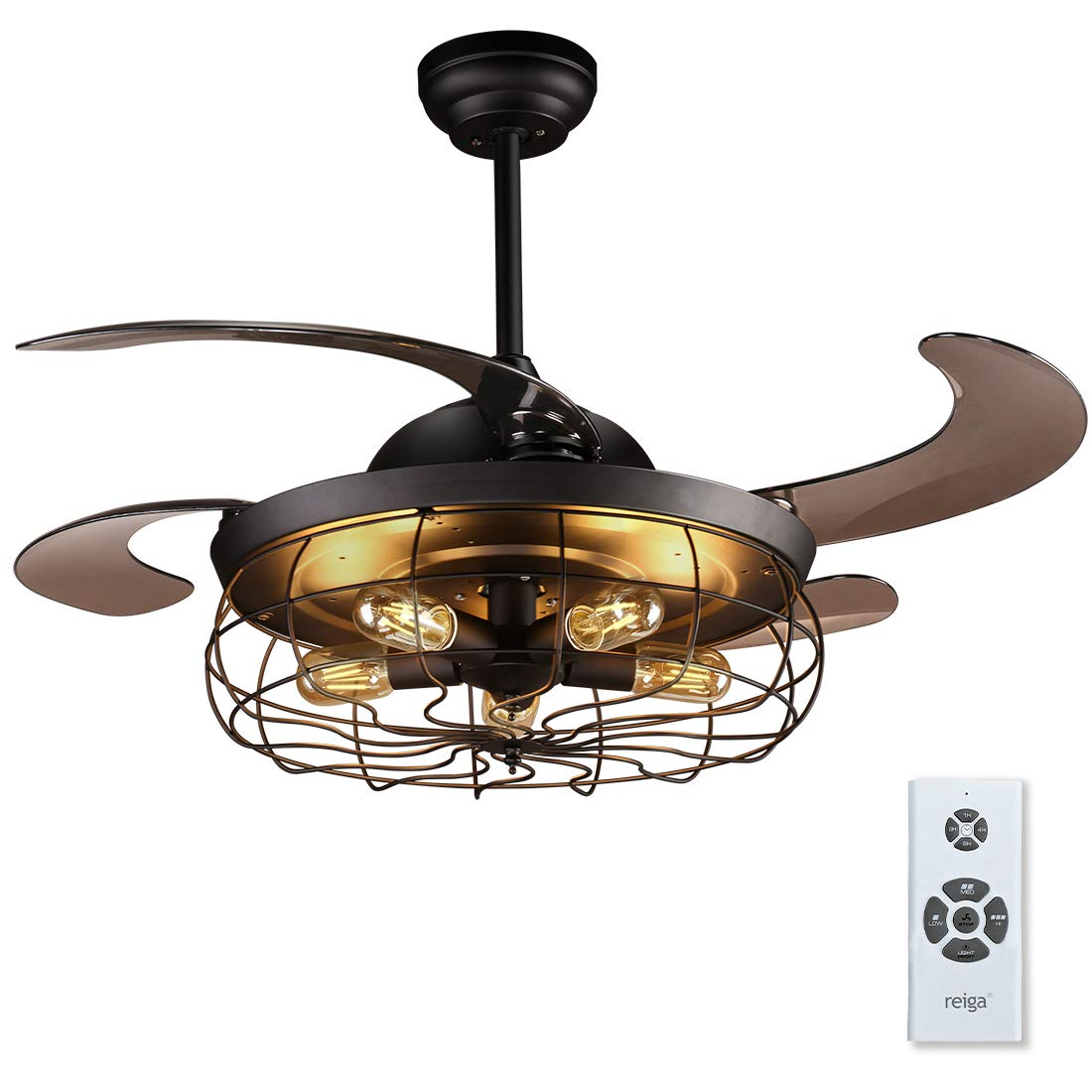 reiga 44 inch Black Retractable Blade Caged Ceiling Fan with Light Kit and Remote Control, Noiseless Motor Black