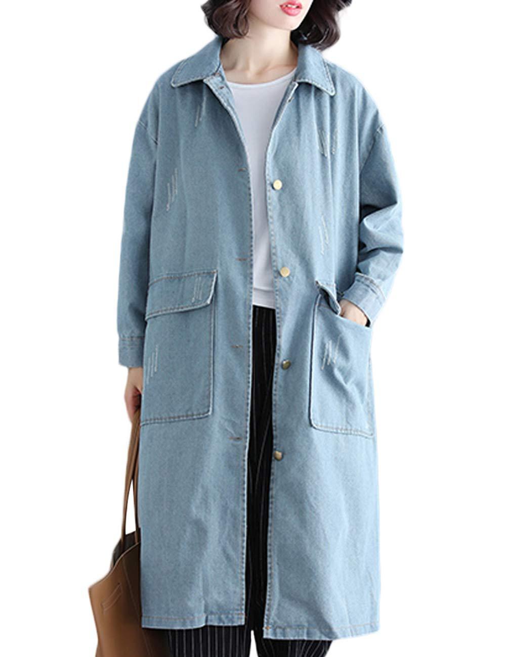 Innifer Women's Casual Loose Long Windbreaker Jean Denim Jacket Cardigan Coat with Pocket