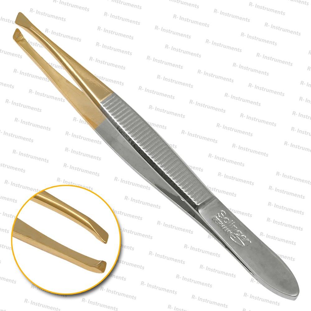 Solinger Pinzette zur Haarentfernung- Zupfpinzette- Augenbrauenpinzette- goldspitz 8 cm lang- geriffelt- schräge Ausführung- im Etui aus Solingen Rhein Instrumente