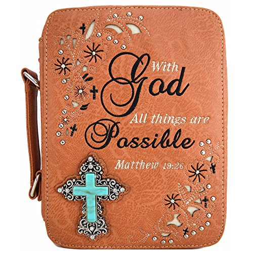 (Western Style Bling Rhinestone Cross Country Women's Bible Cover Books Case Removable Strap Messenger Bag (Scriptures Khaki) )