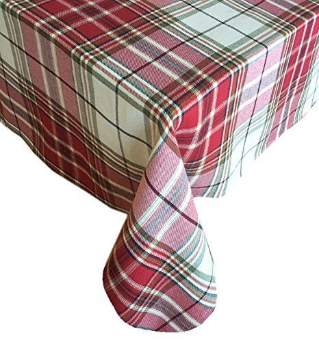 Newbridge Sully Tartan Christmas Plaid Fabric Tablecloth, 100% Woven Cotton Holiday Tablecloth, 60