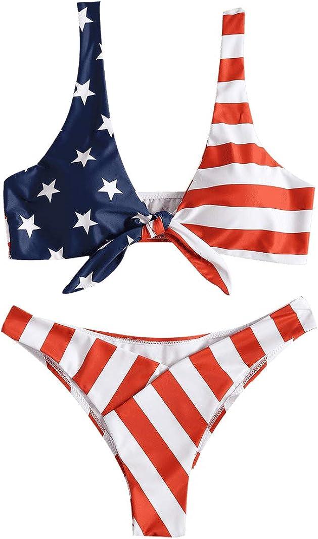 JewelryWe - Conjunto de bikini sexy para mujer con diseño de bandera de Estados Unidos y nudo push-up acolchado: Amazon.es: Ropa y accesorios
