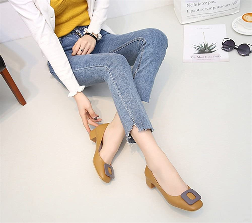 Womens Shoes Patent Leather Spring Summer Comfort Heels Chunky Heel Round Toe Buckle for Dress Office /& Career Black Apricot Brown Pink