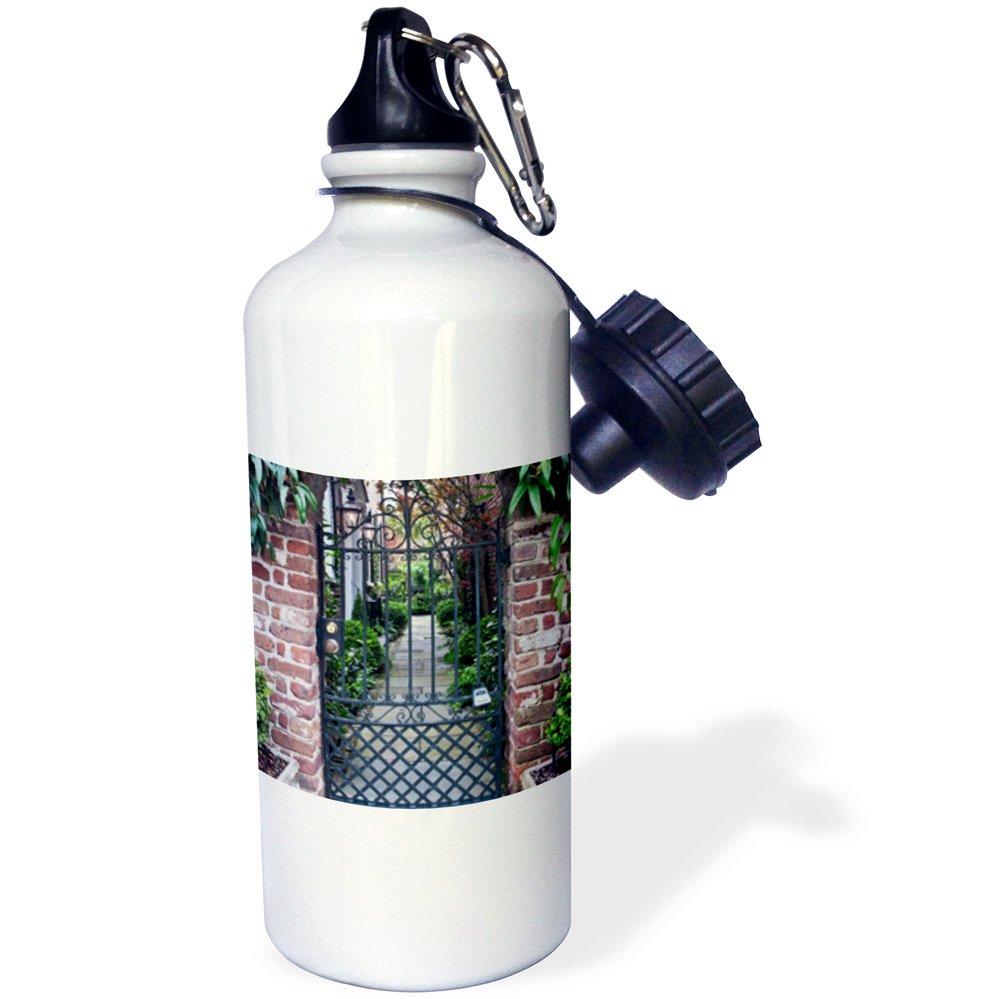 Charleston 21 oz South Carolina White 3dRose wb/_146478/_1USA Historic House Gate-US41 RTI0010-Rob Tilley Sports Water Bottle