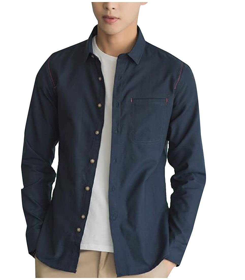 YUNY Mens Solid Colored Casual Button Down Long Sleeve Woven Shirt AS1 XL